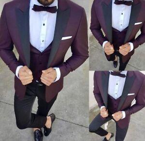 Details about Men\u0027s Burgundy Groom Tuxedos Slim Fit Suit Dinner Party  Formal Wedding Prom Suit