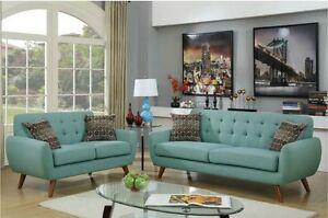 2pc Sofa Set Sofa & Loveseat Cushioned Sofa Couch Tufting Plush Seating w Pillow