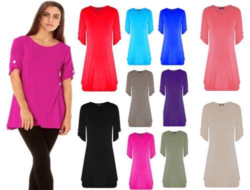 Women Ladies Short Turn Up Sleeves Button Flared Swing Dress Long Top UK 8-26