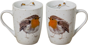 2-STUCK-Kaffeetassen-330ml-ROTKELCHEN-Robin-Tassen-Porzellan-Kaffeebecher-Vogel