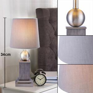 Legno Lampada Da Tavolo Grigio Salotto Camera Tavolino Faretto Tessuto Design Ebay