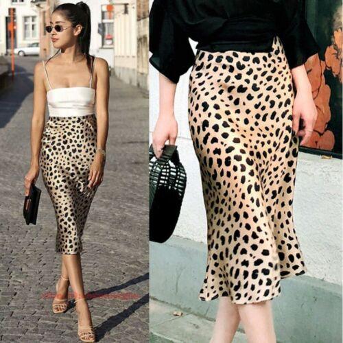 Fashion Womens Leopard Print Skirts Vintage Casual Lady High Waist Pleated Skirt