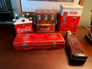 Coca-Cola-Collectibles-Lot-of-5-Items-Metal-Tins-And-Ceramic-Containers-Bundle