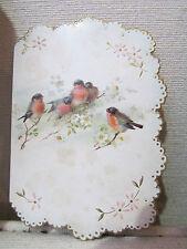 ancien menu a decor d' oiseaux bouvreuils rouge gorge et fleurs vers 1900