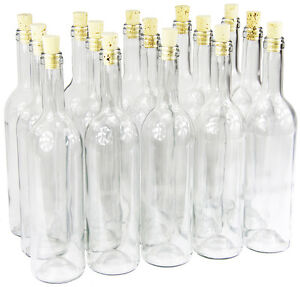 15 x 750 ml weinflasche mit korken glasflasche leere flasche lik r wein neu ebay. Black Bedroom Furniture Sets. Home Design Ideas