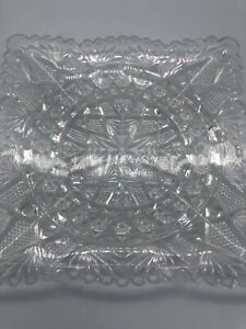 Vintage-Cut-Glass-Clear-Crystal-Square-Serving-Tray-Plate-71-4-034