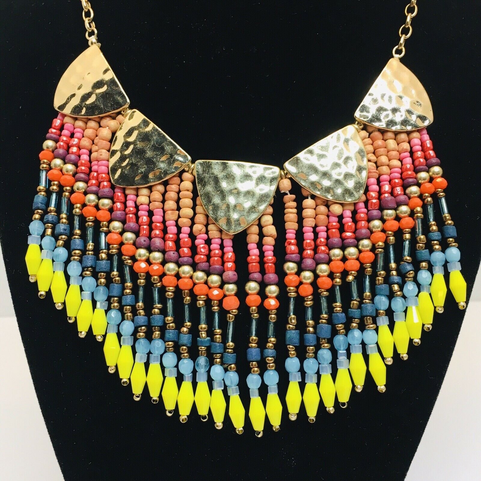 Bib Necklace Statement Necklace Long Necklace Necklaces Tribal Fusion Bohemian Jewelry Gift For Her Boho Jewelry Geometric Necklace
