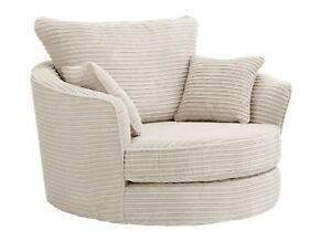 large swivel round cuddle chair jumbo cord fabric cream grey brown