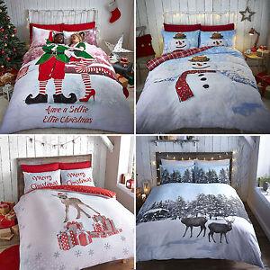 christmas bedding / duvet sets - snowman, deer, nordic scene or