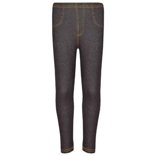 Kids Girls Black Stretchy Denim Jeans Jeggings Pants Leggings Trousers 5-13 Year