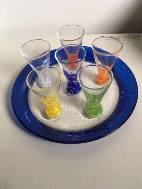 Dansk Vivacious Cocktail Cordial Glasses Set 6 Plus Plate Tray Original Labels