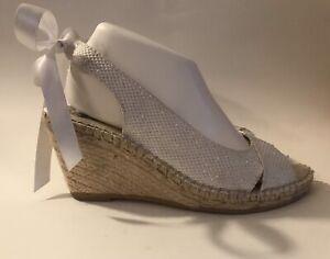 Iridescent-White-Vidorreta-Espadrille-High-Heel-Sandals-Size-40-9