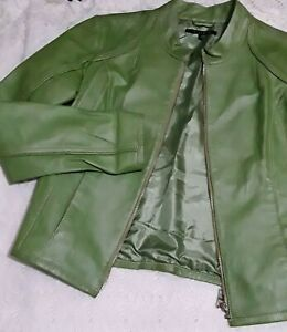 IN-SUEDE-Size-M-LIME-Green-Long-Sleeve-Soft-Leather-Jacket
