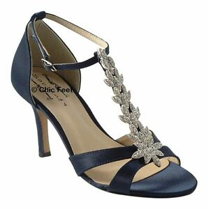NEW LADIES NAVY BLUE WEDDING BRIDAL PROM T BAR DIAMANTE MID HEEL ... 95762b2497