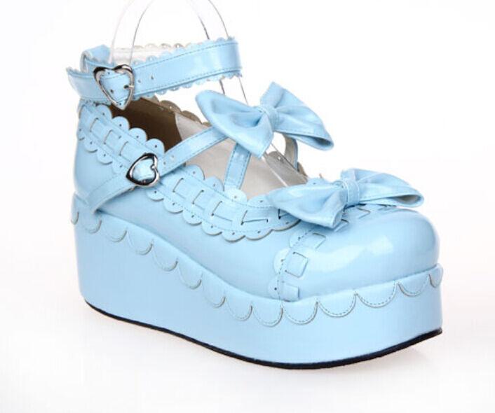 2016 Donna Wedge Heel Pump Janes Mary Janes Pump Bowknot Platform Lolita Cosplay Shoes Hot ff7b3b