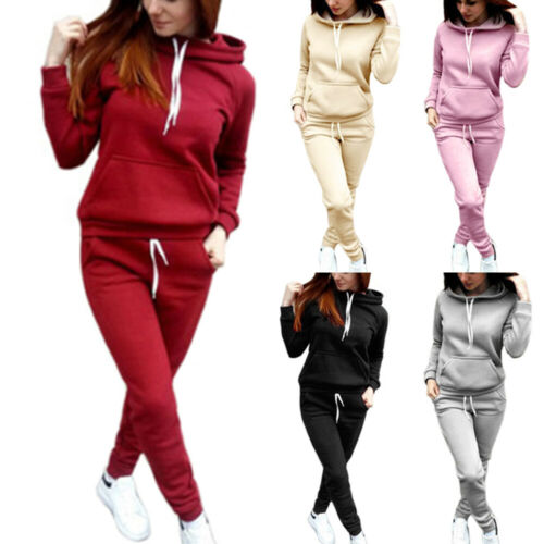 Women Winter 2PCs Hoodies Sweatshirt Pants Sets Sport Tracksuit Wear Casual Suit