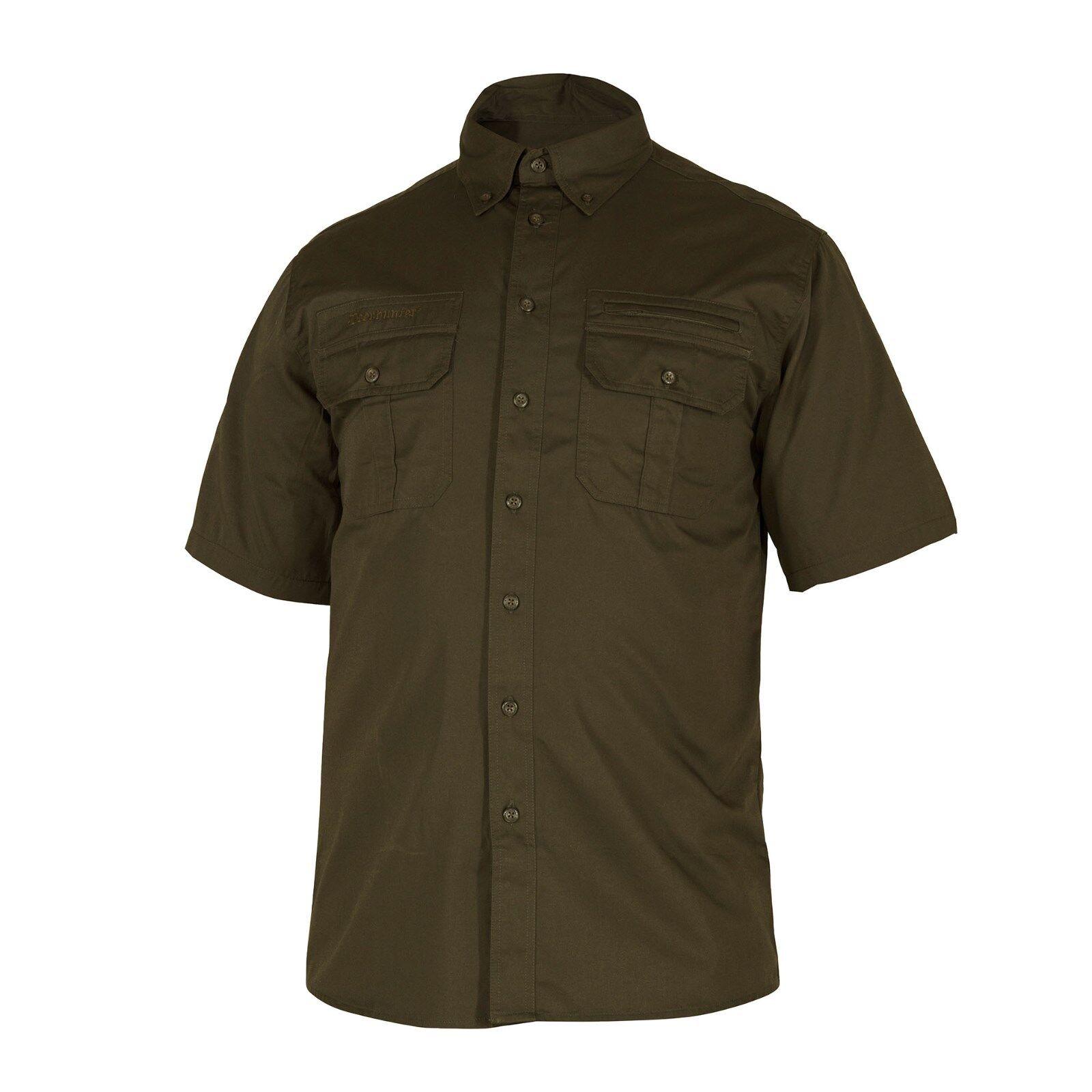DEERHUNTER 8081 CARIBOU Jagdhemd, kurzärmliges Hemd in Grün Gr. 37/38-47/48