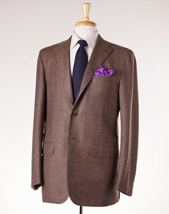 NWT 8495 KITON Heather Braun Twill Wool-Cashmere Suit 42 L (Eu 52) Modern-Fit