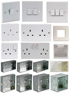 Light-Switch-Electrical-Mains-Socket-Back-Box-Finger-Plate-Single-Double-Metal