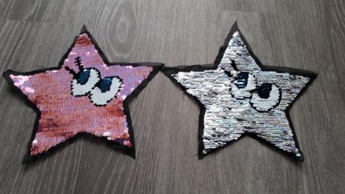 XL Patch Stern mit Augen rosa silber Glitzer mit Pailletten Aufnäher Flicken DIY