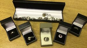 18-Superb-Vintage-Solid-Silver-Gem-Set-Jewellery-Rings-One-Is-9ct-Gold-Moonstone