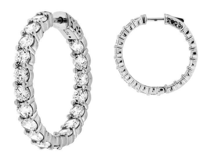 5.50 carat Round cut Diamond 14k White gold Hoop Earring 18 x 0.30 ct 3 4 inch