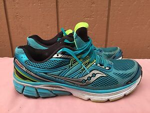 6b792c25ee54 EUC Saucony Omni 14 Women s Running S10270-2 Blue Black Citron Shoes ...