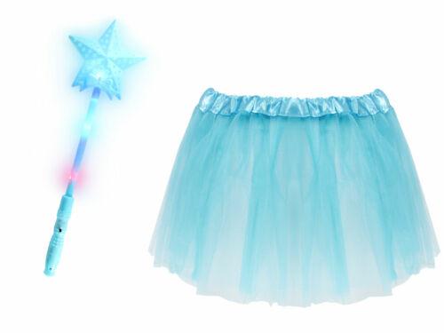 Kv-162 Prinzessinen Kostüm Mädchen LED Sternstab Tüllrock Karneval Hellblau