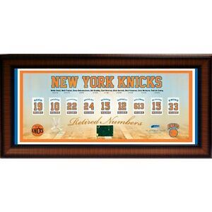 reputable site a1bae d7a29 Details about New York Knicks Retired Numbers Framed 14x32Collage Game Used  Court Net msg