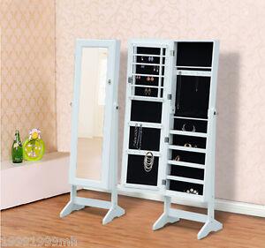 Mirrored-Jewelry-Cabinet-Organizer-Storage-Display-Stand-Armoire-Case-White