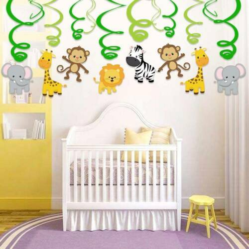 30Pcs//set  DIY Safari Animal Jungle Ceiling Hanging Swirl Decorations Zoo Theme