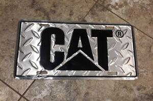 Caterpillar CAT Black Simulated Diamond Plate License Front Auto Tag