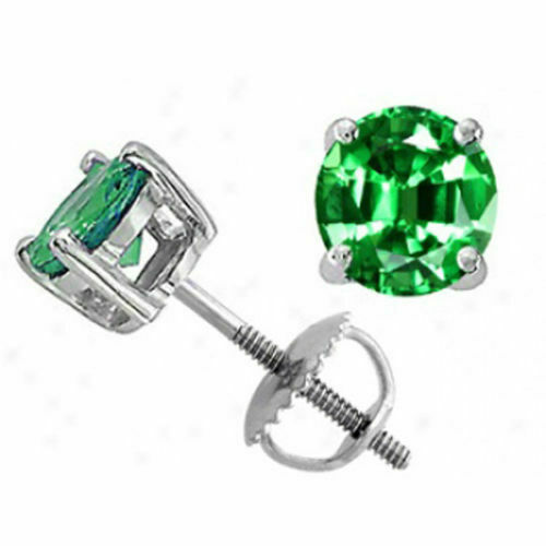 Details about  /2.0 ct Brilliant Round Cut Green Screw Back Earring Studs Solid 14K White Gold