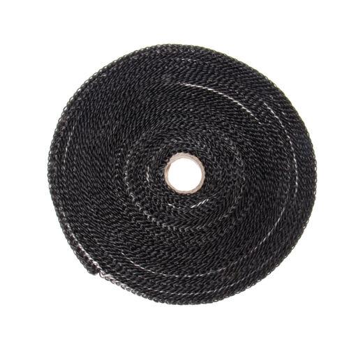 """1/"""" x 50/' Roll Fiberglass Exhaust Header Pipe Heat Wrap Tape With 10 Zip Ties Kit"""