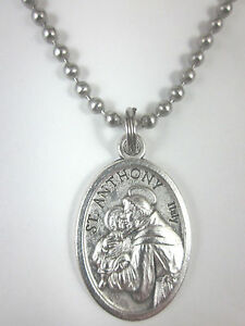 St anthony medal italy necklace 24 ball chain gift box prayer image is loading st anthony medal italy necklace 24 034 ball aloadofball Choice Image