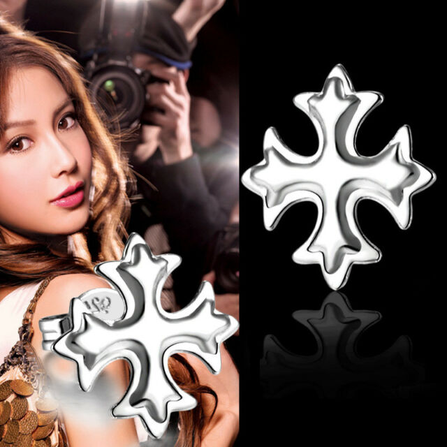 Xmas Gift 925Sterling Silver Zircon Cross Flower Women Stick Earrings HE230