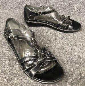 Dansko-Womens-40-US-9-5-10-Black-Leather-Open-Toe-Ankle-T-Strap-Sandals-In-EUC
