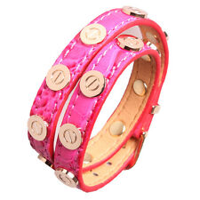 Croc Faux Leather Slake Bracelet Gold Plated Nail Screw Bangle Hot Pink