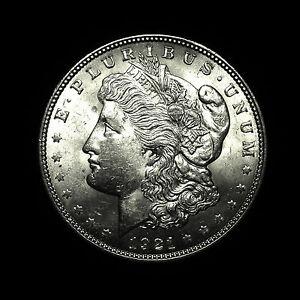 1921-ALMOST-UNCIRCULATED-AU-Silver-Morgan-Dollar-Rare-US-Antique-Coin