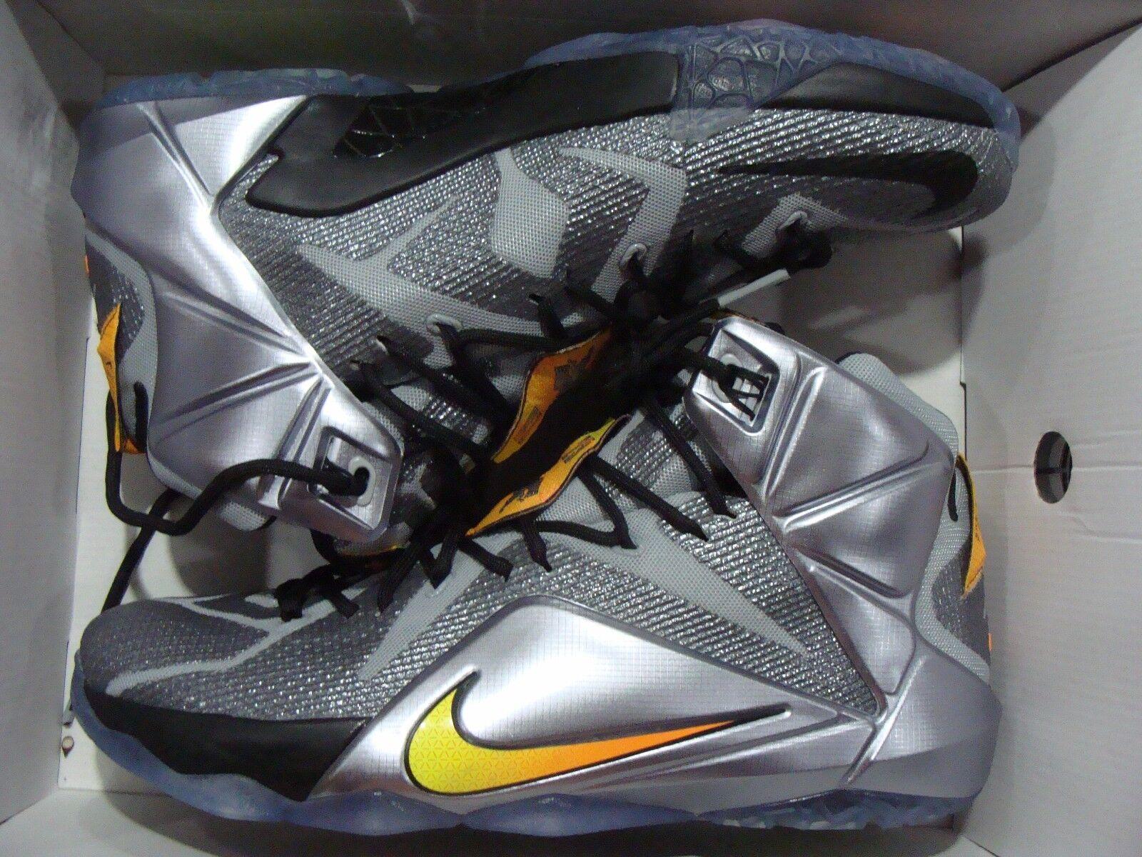 New Men's Nike LeBron XII 684593 Citrus 080 Wolf Grey/Bright Citrus 684593 Black Size 10 2468ed