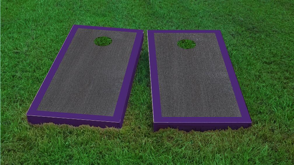 Premium Purple Border Onyx Stained Cornhole Board Game Set