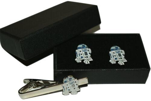 Star Wars R2D2 Gemelos y clip de corbata Conjunto de Regalo en Caja Esmalte de Boda para Hombre Papá Hijo