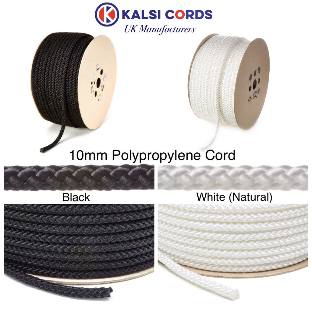 10MM ROUND POLYPROPYLENE ROPE BRAIDED POLY CORD SAILING CAMPING BOATING PULLEY