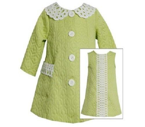 Bonnie Jean Girls Lime Green Jacquard Spring Easter Dress /& Coat 12M 18M 24M 4 6