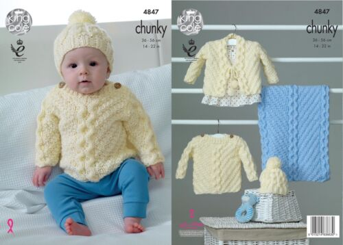 King Cole 4847 Knitting Pattern Sweater Hat Cardigan Blanket in Baby Soft Chunky