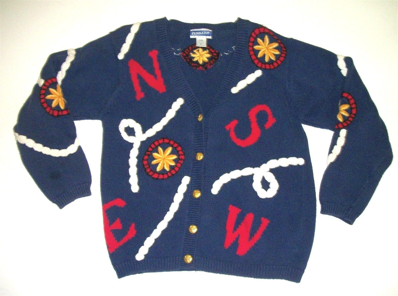 Pendleton Cardigan Sweater Nautical Ship's Compass Rigging Rope Cotton Blend M