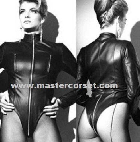 Black genuine leather bodysuit  Body en cuir véritable  Corporea in vera pelle