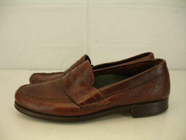 Mens 10 M H.S. Trask Genuine Handsewn Made in USA Brn Leather Penny Loafer shoes