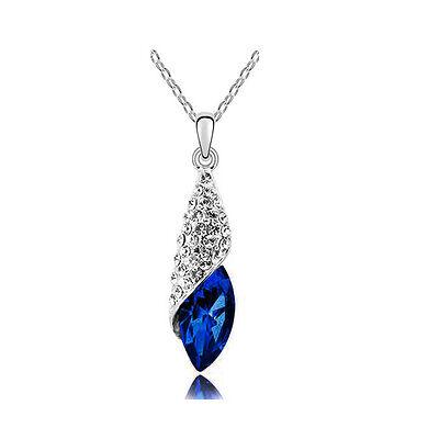Stylish Dark Sapphire Blue Crystal Teardrop Pendant Rhinestones Necklace N224