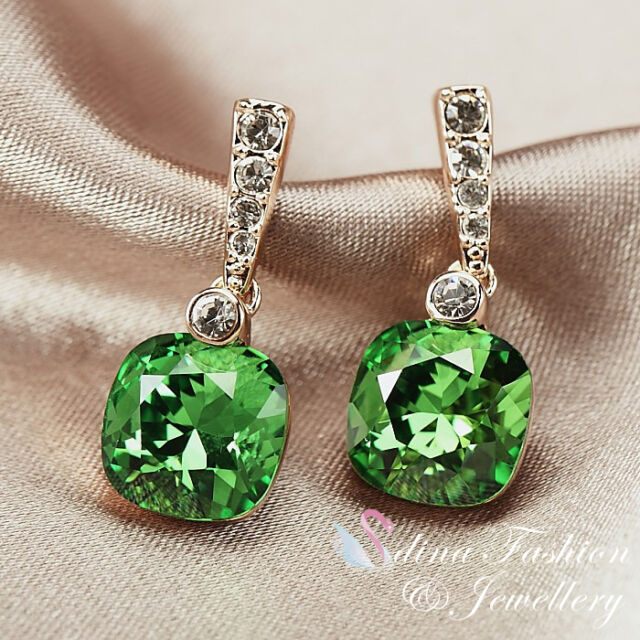 18k Rose Gold Plated Made With Swarovski Crystal Cushion Cut Emerald Earrings